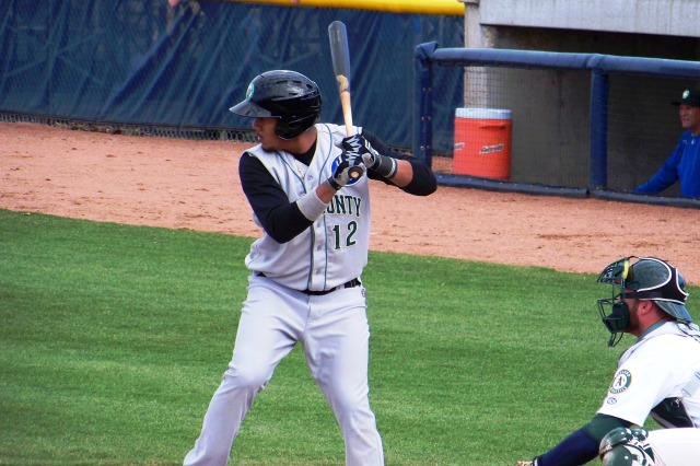 Jeimer Candelario batting for the Kane County Cougars (Photo by Craig Wieczorkiewicz/The Midwest League Traveler)