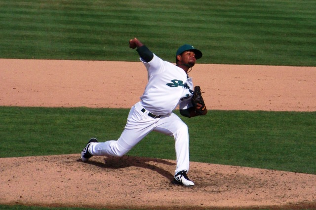 Raul Alcantara pitched for the Snappers in 2013. He made his MLB debut for the A's earlier this week. (Photo by Craig Wieczorkiewicz/The Midwest League Traveler)