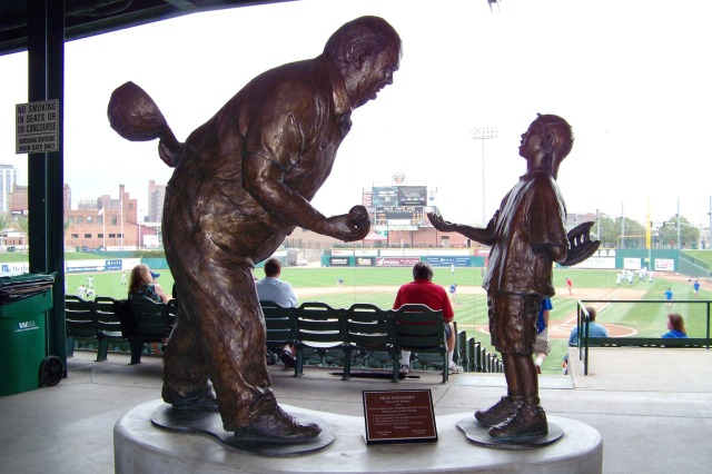 The Pete Vonachen statue inside Dozer Park.