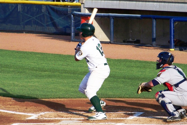 Snappers C Bruce Maxwell right after he hit his RBI double.