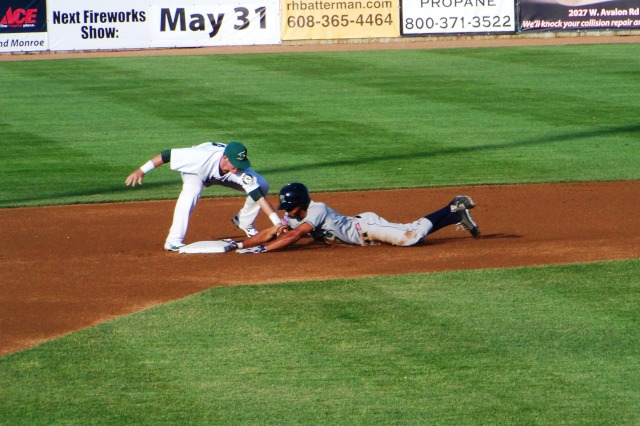 Kernels leadoff man Byron Buxton gets thrown out trying to stretch a single into a double in the 1st inning.