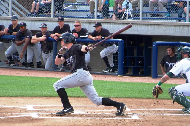 LF Michael Reed put the Timber Rattlers on the board with this RBI single in the 1st inning.