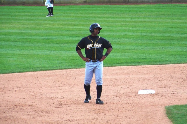 Andrew Toles takes a lead off second base while playing for the Bowling Green Hot Rods in 2013. (Photo by Craig Wieczorkiewicz/The Midwest League Traveler)