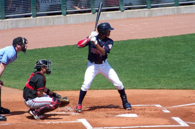 Byron Buxton batting for the Cedar Rapids Kernels in 2013. (Photo by Craig Wieczorkiewicz/The Midwest League Traveler)