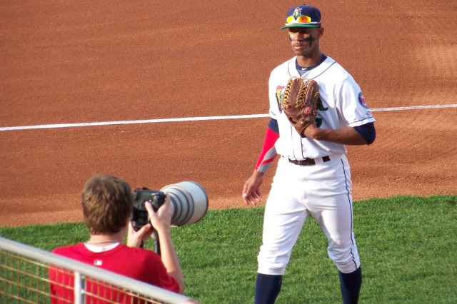 Byron Buxton heads back to the dugout between innings of a Cedar Rapids Kernels game earlier this season.