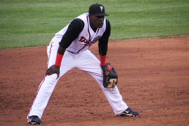 Gustavo Pierre manning third base for the Lansing Lugnuts. (Photo from Jays Journal)