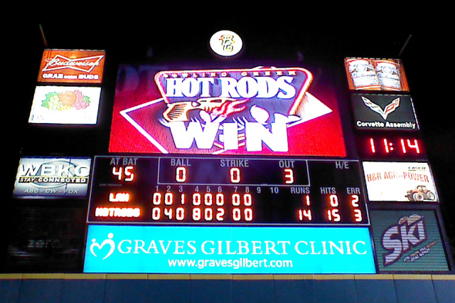 The Bowling Green Ballpark scoreboard after the no-hitter was completed. (Photo from The Tune-Up Blog)