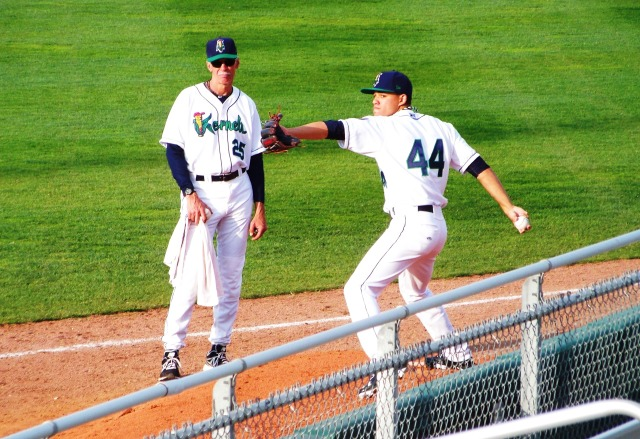 Watched by Cedar Rapids Kernels pitching coach Gary Lucas, Jose Berrios throws in the bullpen before his April 29 start.