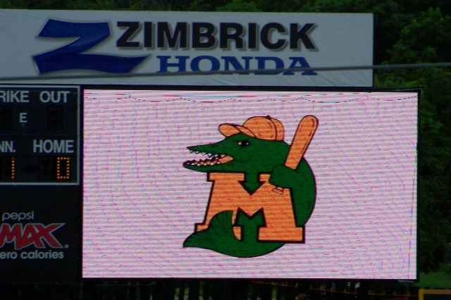 "The Madison Muskies logo on the scoreboard at ""The Duck Pond"""