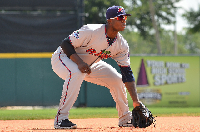 Miguel Sano playing with the Fort Myers Miracle last month. (Photo by Tom Hagerty)
