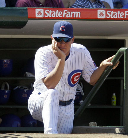 Mike Quade in the Wrigley Field dugout in August 2010. (AP Photo)
