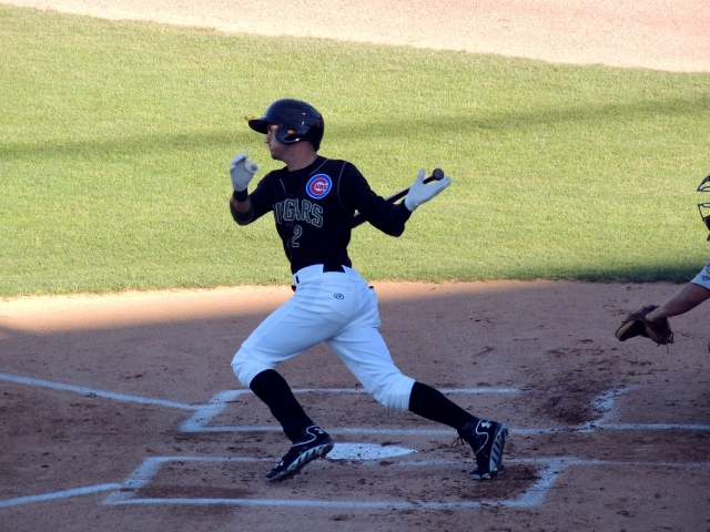 Albert Almora connects with a pitch while playing for the Kane County Cougars. (Photo by Craig Wieczorkiewicz/The Midwest League Traveler)