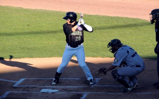 Bijan Rademacher batting for the Kane County Cougars on Thursday.