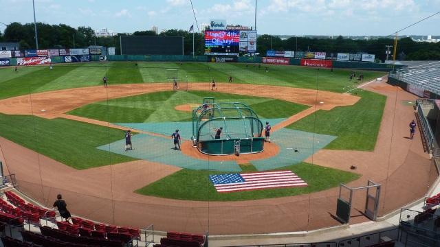 Batting practice at Veterans Memorial Stadium on July 4. (Photo from Rattler Radio)