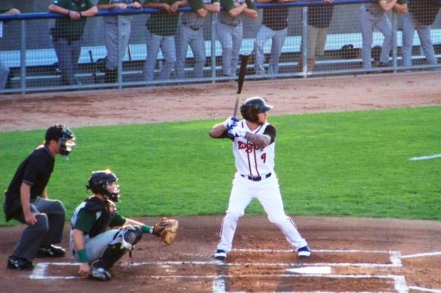 Brett Lawrie batting for the Lansing Lugnuts during the 2012 Midwest League playoffs.