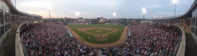 A panoramic photo of Cooley Law School Stadium tweeted by Lugnuts employee Ben Owen.