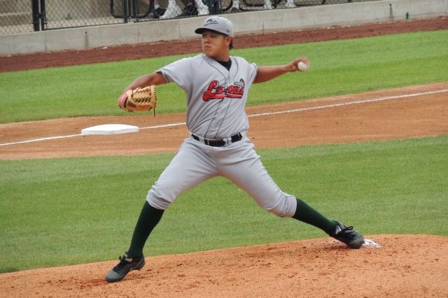 Julio Urias made his professional pitching debut for the Great Lakes Loons at age 16. (Photo by Craig Wieczorkiewicz/The Midwest League Traveler)