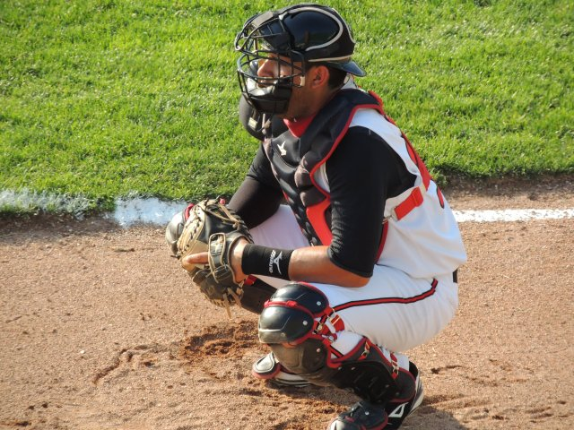 Lugnuts catcher Santiago Nessy in the Lansing bullpen before last Wednesday's game.