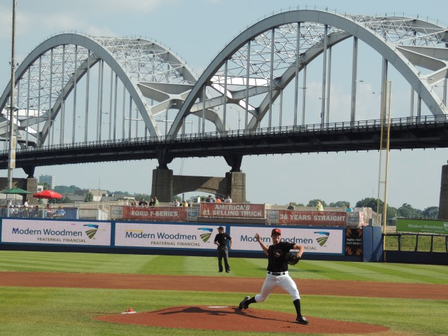 Quad Cities River Bandits RHP Mark Appel throws between innings during a game at Modern Woodmen Park in July 2013. (Photo by Craig Wieczorkiewicz/The Midwest League Traveler)