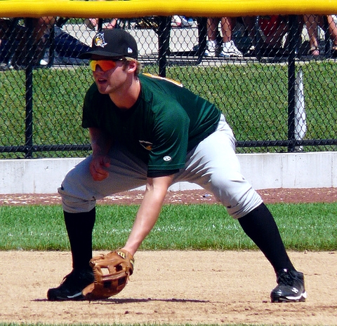 Matt Davidson playing third base for the 2010 South Bend Silver Hawks