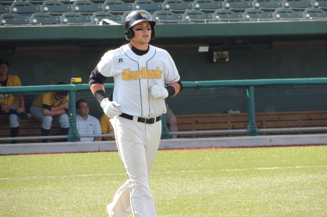 Silver Hawks 3B Brandon Drury heads to 1B after drawing his fourth walk of the game.