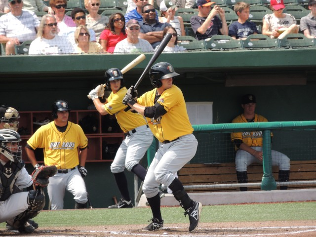 Bowling Green Hot Rods LF Marty Gantt batting in the 1st inning of Sunday's game.
