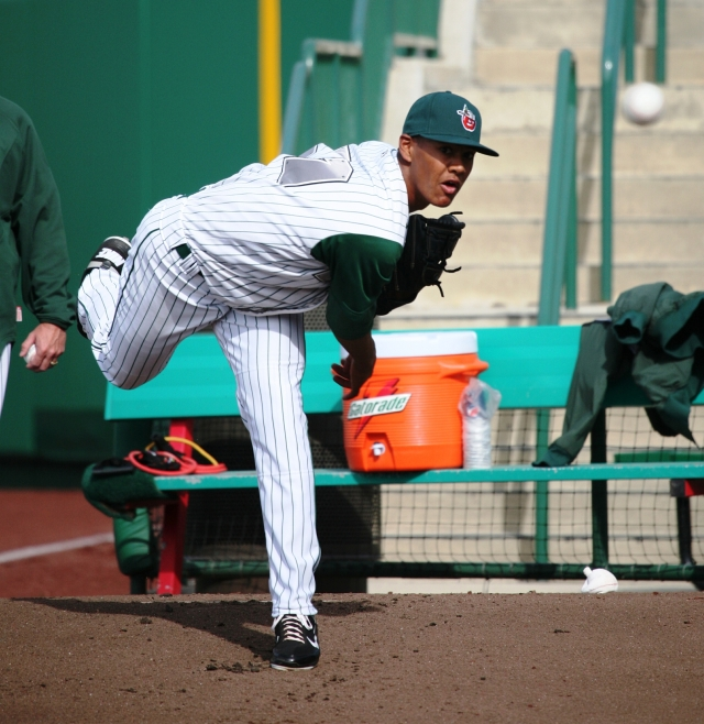 TinCaps pitcher Joe Ross warms up in the bullpen last April. (Photo by Brad Hand)