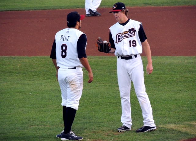 Rio Ruiz (left) and Josh Hader were two of the heroes for the River Bandits in the game that clinched the 2013 MWL title for Quad Cities. (Photo by Craig Wieczorkiewicz/The Midwest League Traveler)