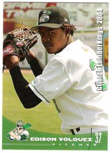 Edinson Volquez's 2004 Clinton LumberKings card. Note that his first name was misspelled.