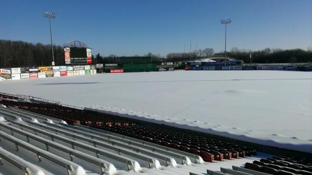 The snowy scene at Fox Cities Stadium, home of the Wisconsin Timber Rattlers, today.