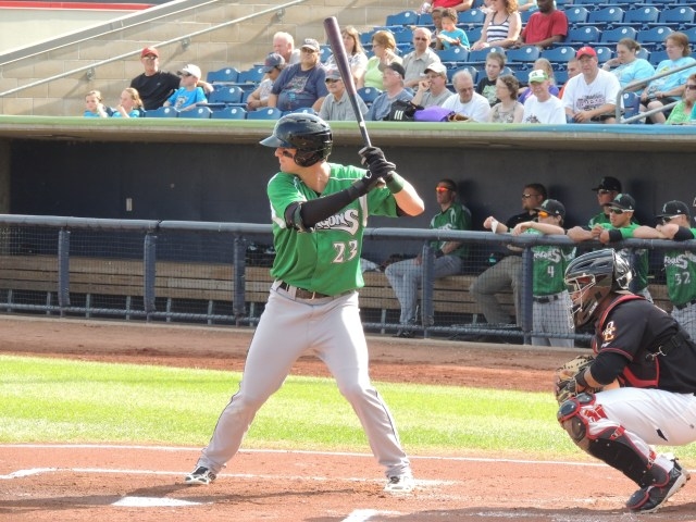 Jesse Winker bats for the Dayton Dragons during the 2013 season. (Photo by Craig Wieczorkiewicz/The Midwest League Traveler)