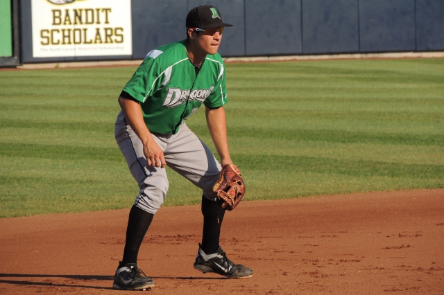 Seth Mejias-Brean manning third base for the Dayton Dragons. (Photo by Craig Wieczorkiewicz/The Midwest League Traveler)