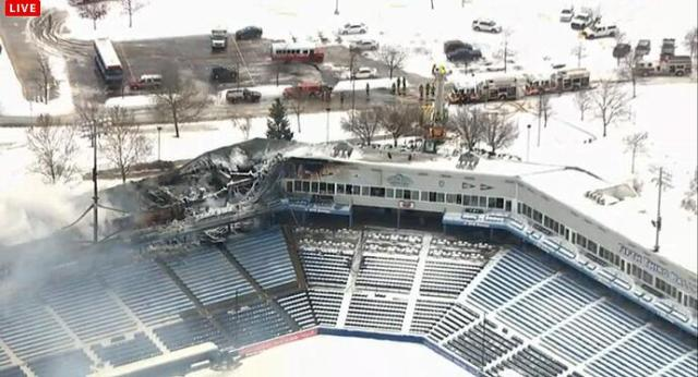 An aerial view of the fire damage at Fifth Third Ballpark, courtesy of WOOD-TV.