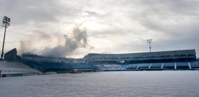 Fifth Third Ballpark after the fire was pretty much extinguished. (Photo by MLive photographer Cory Morse)