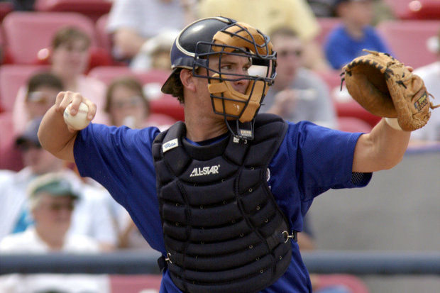 New Whitecaps manager Andrew Graham when he played catcher for the team. (Photo courtesy of the West Michigan Whitecaps)