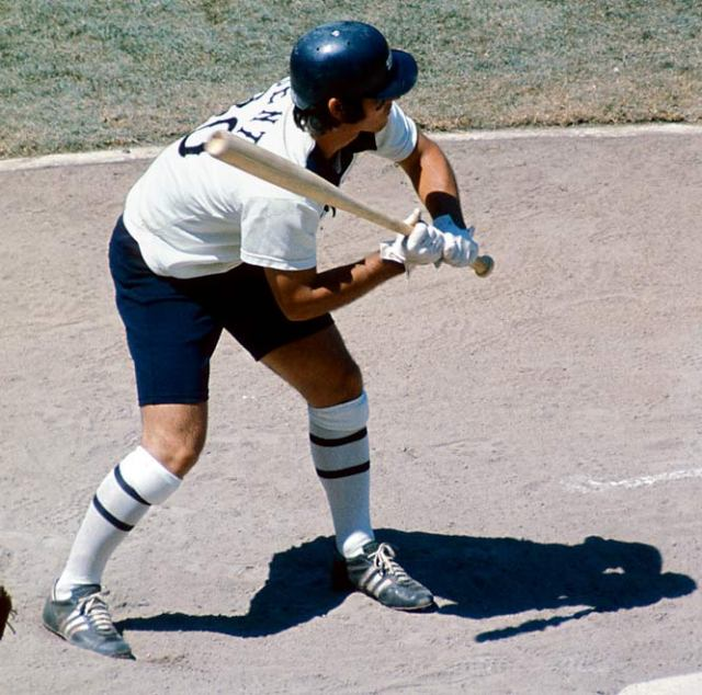 Bucky Dent wearing shorts while batting for the Chicago White Sox in 1976.