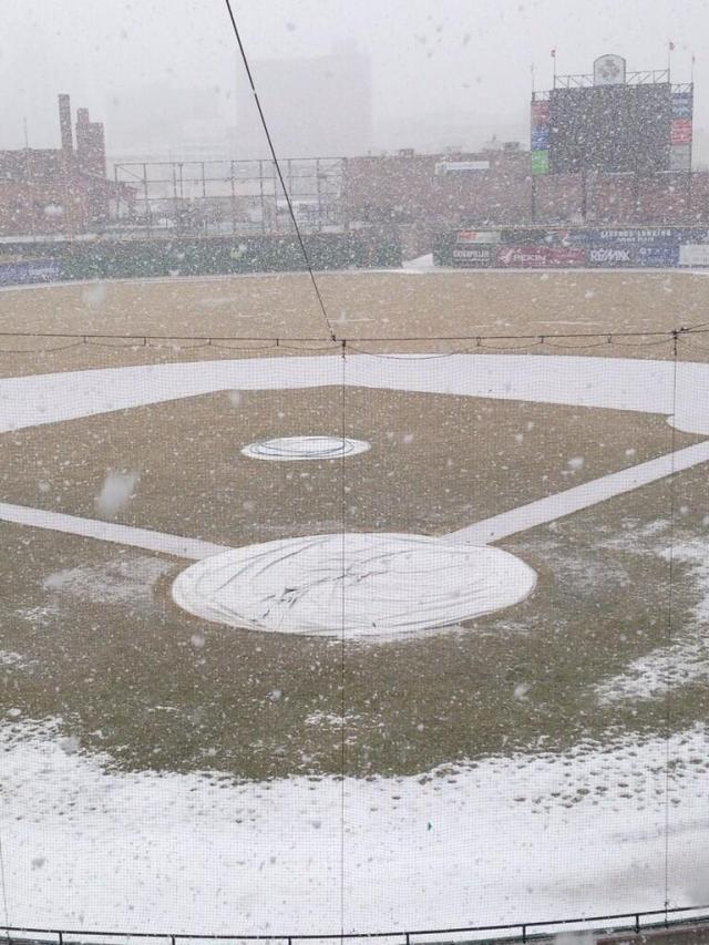 The snowy scene at Dozer Park this morning. (Photo courtesy of the Peoria Chiefs)