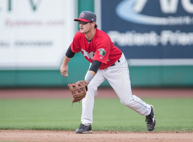 """Tyler Stubblefield playing infield for the TinCaps. (Photo from Mike Couzens' """"It's All Relative"""" blog)"""