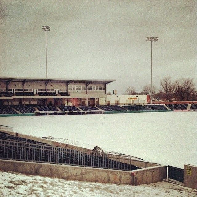 The snowy scene at Bowling Green Ballpark last weekend.