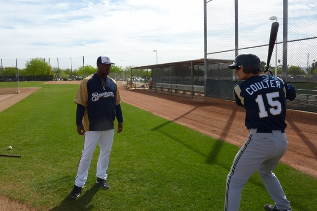 Timber Rattlers catcher Clint Coulter at Brewers spring training earlier this month. (Photo from Rattler Radio)