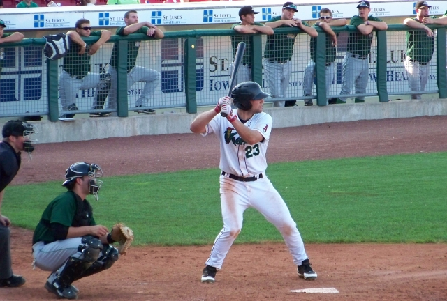 Matt Scioscia bats for the Cedar Rapids Kernels in 2012. (Photo by Craig Wieczorkiewicz/The Midwest League Traveler)