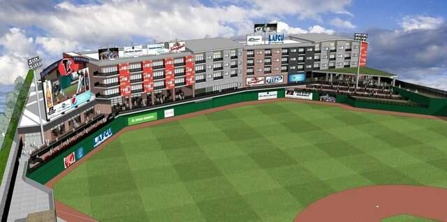 An artist's rendering of what Cooley Law School Stadium would look like after the proposed project is completed.