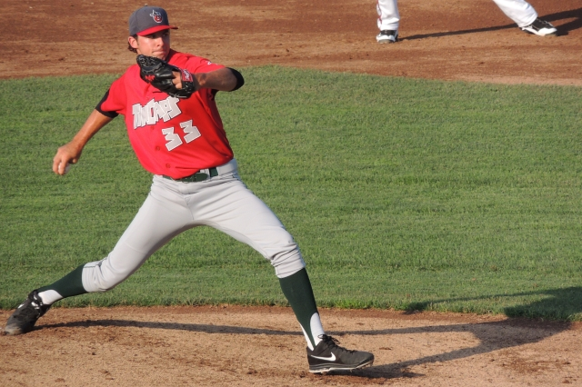 Walker Weickel pitching for the TinCaps in Lansing last June. (Photo by Craig Wieczorkiewicz/The Midwest League Traveler)