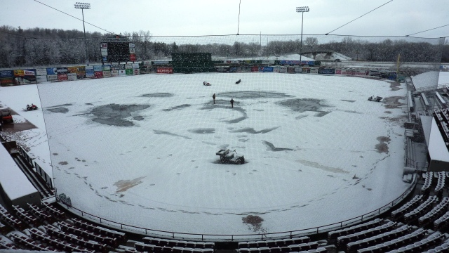 The snowy scene at Fox Cities Stadium around noon today. (Photo from Rattler Radio)