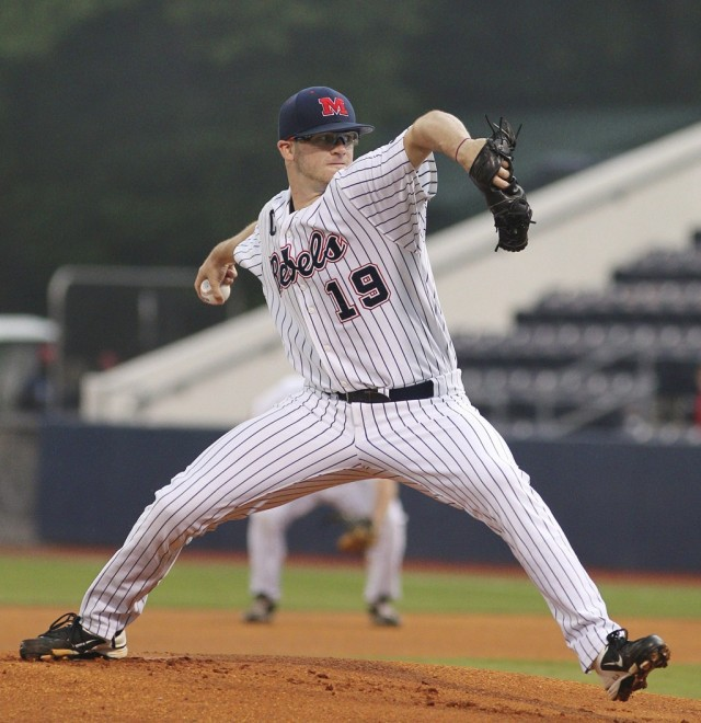 Bobby Wahl pitching for Ole Miss (Photo by Joshua McCoy/University of Mississippi)
