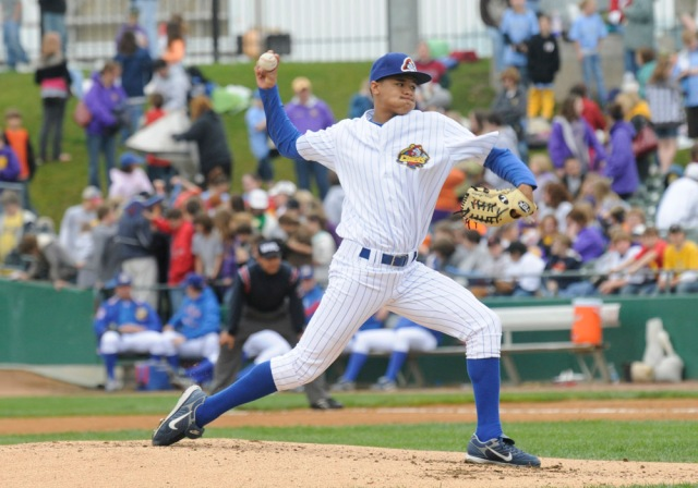 Chris Archer delivers a pitch for the 2009 Peoria Chiefs. (Photo courtesy of the Peoria Chiefs)
