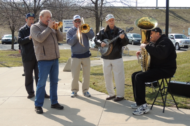 Fans were welcomed to Fifth Third Ballpark by a Dixieland band playing at the bottom of the stairs near the main entrance.