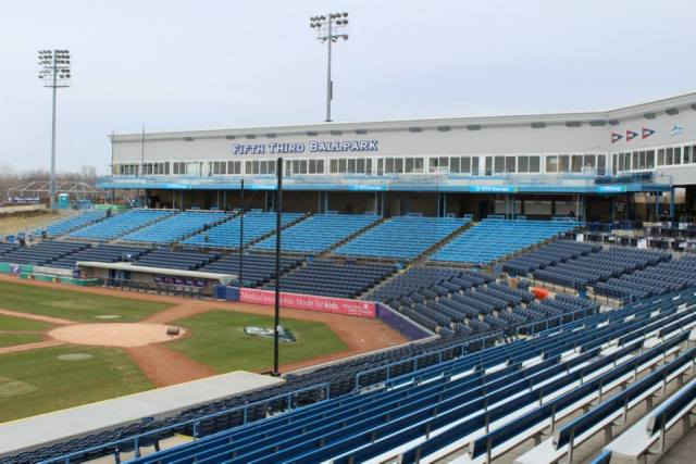 The rebuilt Fifth Third Ballpark looked as good as new by Opening Day. (Photo courtesy of the West Michigan Whitecaps)