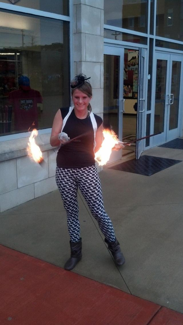 A fire juggler entertained people outside Bowling Green Ballpark. (Photo sent to me by Hot Rods fan Jeff Miller)
