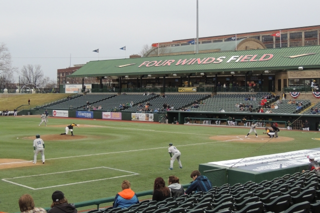 Game action at Four Winds Field.